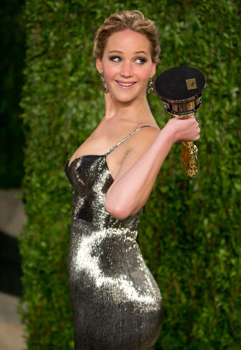 Jennifer Lawrence took her Oscar to the Vanity Fair party.