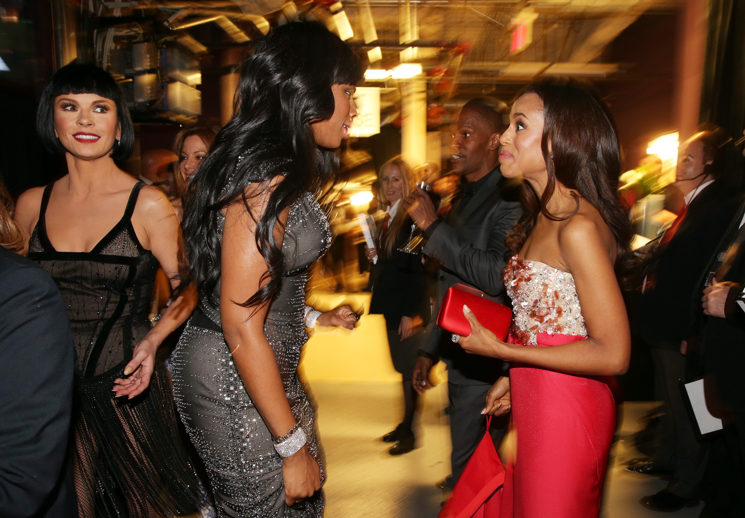 Jennifer Hudson, Kerry Washington, and Catherine Zeta-Jones backstage at the 2013 Oscars.