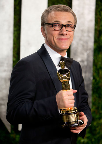 Christoph Waltz arrived at the Vanity Fair Oscars party.