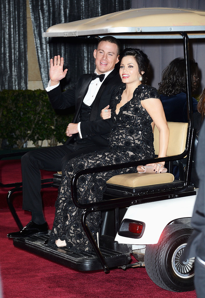 Channing Tatum and Jenna Dewan got a ride on a golf cart after the Oscars.