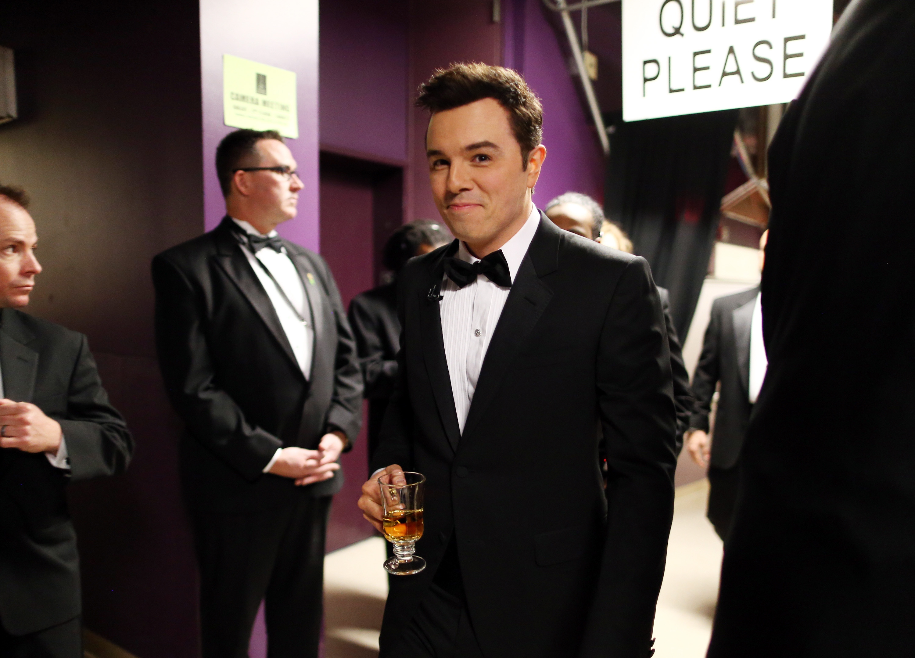 Seth MacFarlane had a beverage backstage at the Oscars.