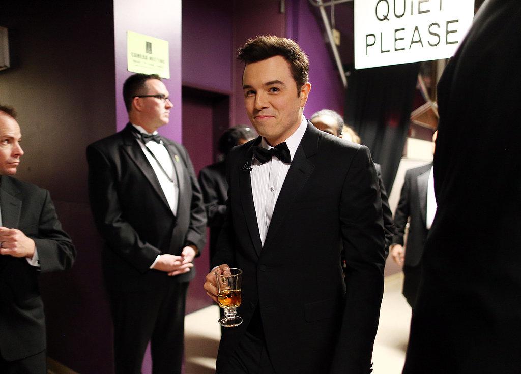 Seth MacFarlane had a beverage backstage at the Oscars.