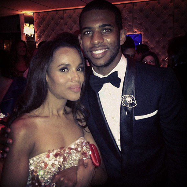 Kerry Washington posed for photos with a fellow Oscar party guest. Source: Instagra user cp3