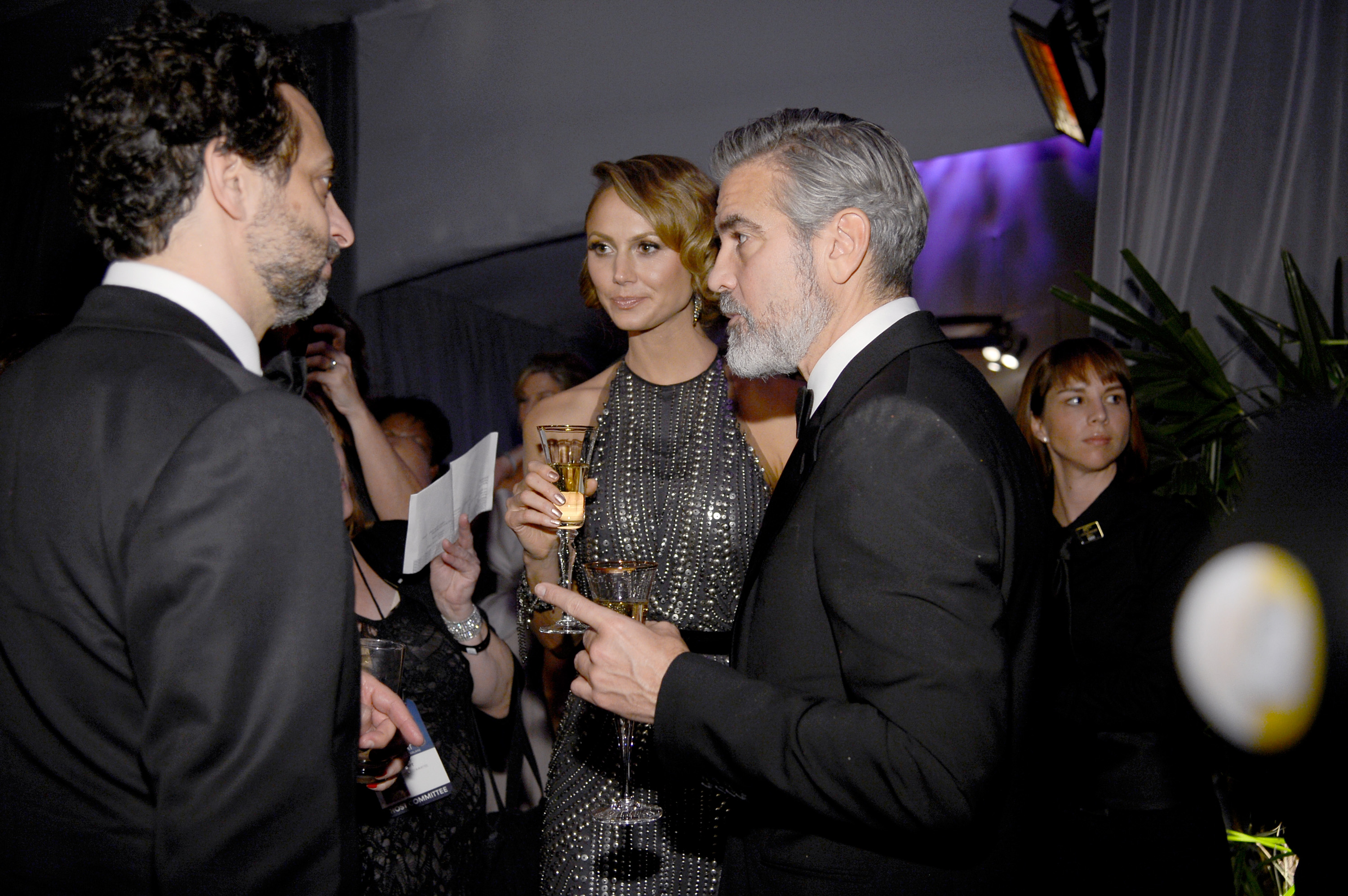 George Clooney and Stacy Keibler toasted with Champange at
