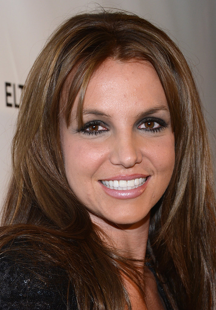 Britney Spears Shows Off a New Brunette Look at Elton's Oscars Party