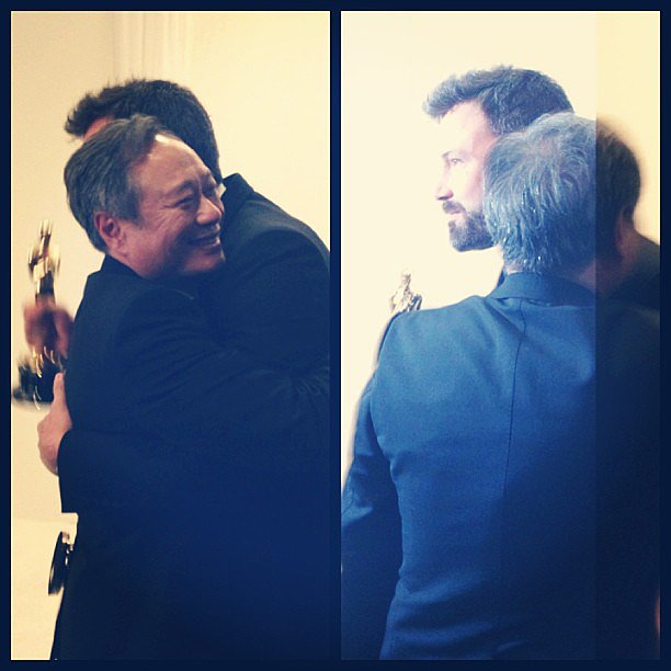 Ben Affleck and Ang Lee hugged after their Oscar wins. Source: Instagram user theacademy