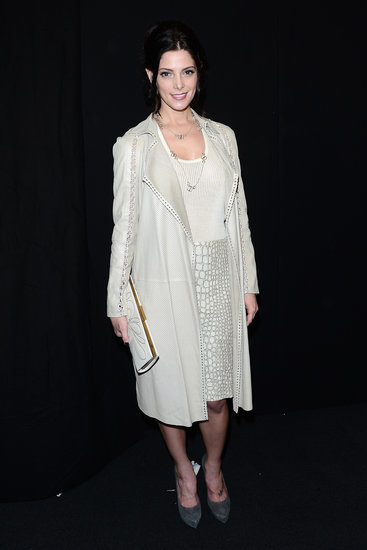 Ashley Greene made an appearance at Salvatore Ferragamo's Fall 2013 show at Milan Fashion Week wearing an icy-hued ensemble, including a knee-length skirt and open coat.