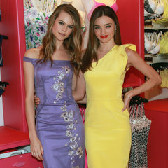 Miranda Kerr and Behati Prinsloo at Victoria's Secret in NYC