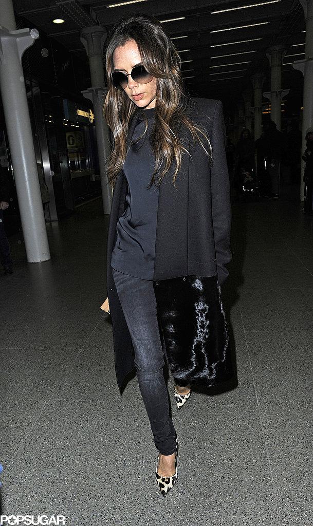 Victoria Beckham arrived back in London.