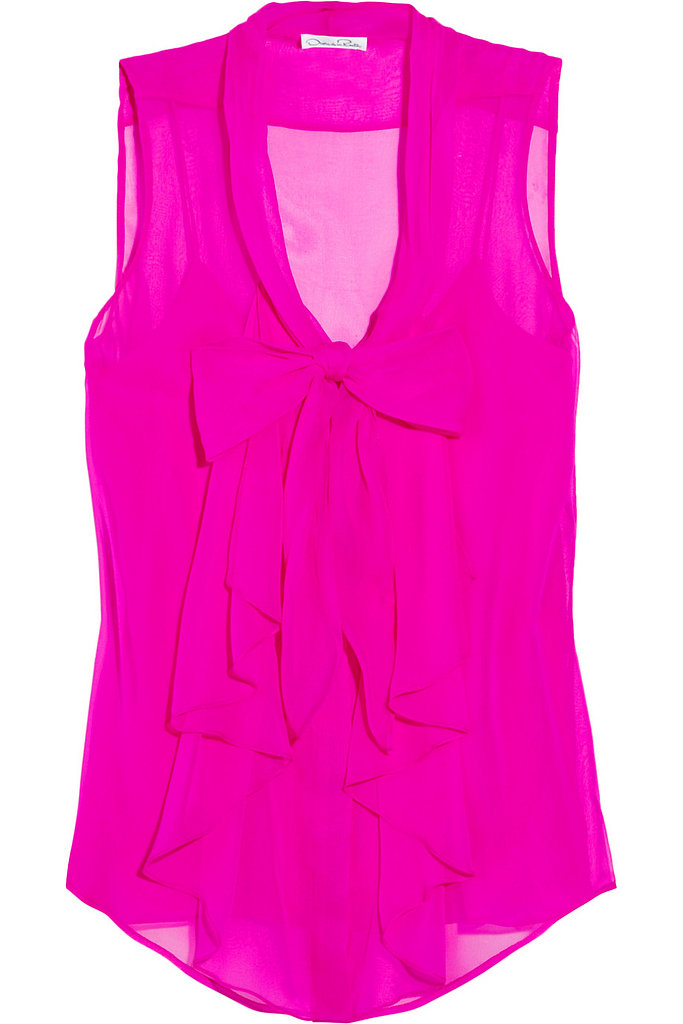 Oscar de la Renta for The Outnet silk-chiffon pussy-bow top ($340)