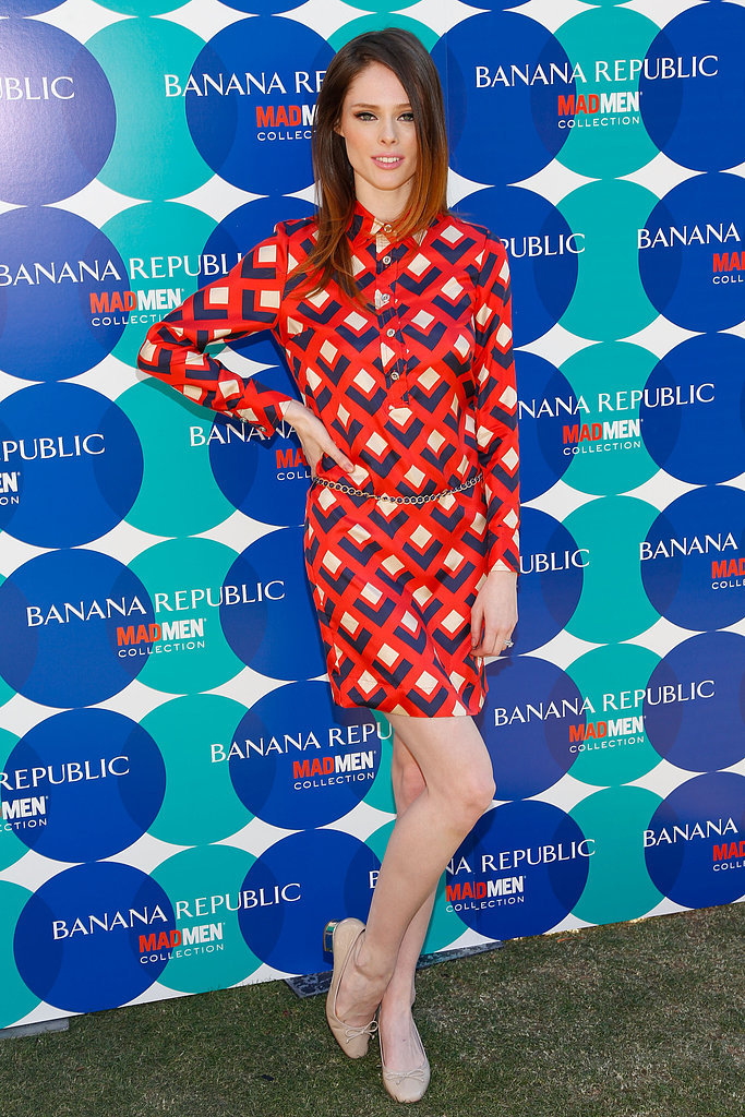 While hosting Banana Republic's Mad Men Spring 2013 collection launch in LA, Coco Rocha went mod in a geometric-print shirtdress and nude ballet flats, both by Banana Republic. She then sported a Banana Republic chain necklace as a belt.
