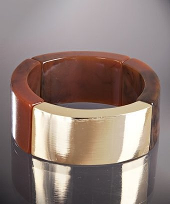 Kenneth Jay Lane tortoise resin and gold stretch bracelet