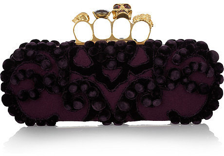 Alexander McQueen Knuckle embellished brocade box clutch
