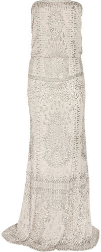 KAUFMANFRANCO Embellished silk-chiffon gown