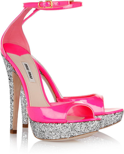 Miu Miu Glitter-finish patent-leather sandals