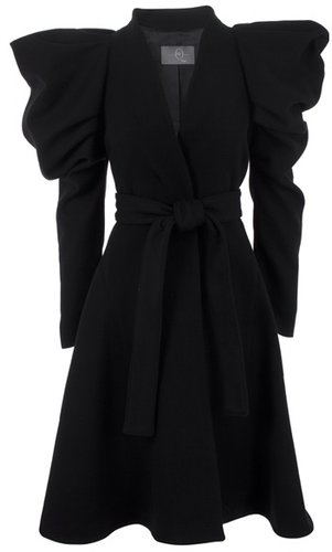 MCQ BY ALEXANDER MCQUEEN - Wool blend coat with exaggerated puff sleeves and stitched panelling