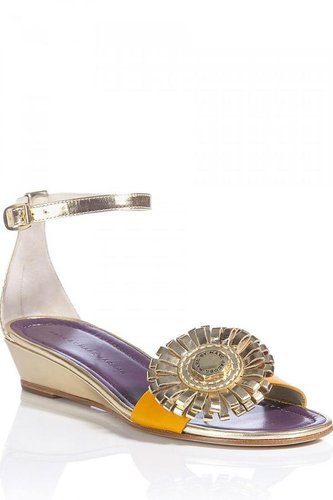 Marc by Marc Jacobs Brass Colored Ornament Sling Flats