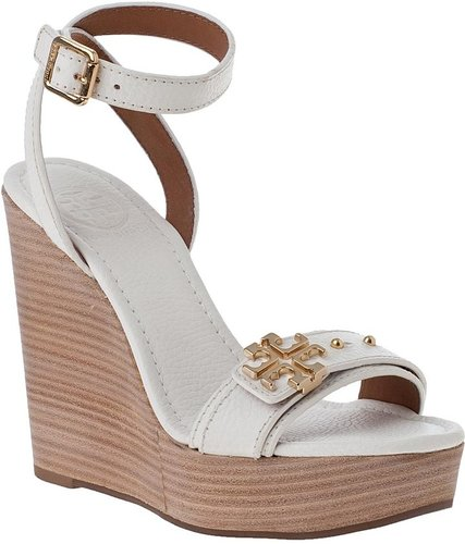 TORY BURCH Elina Wedge Sandal Ivory Leather