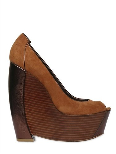 Rachel Zoe - Suede And Wood Open Toe Wedges