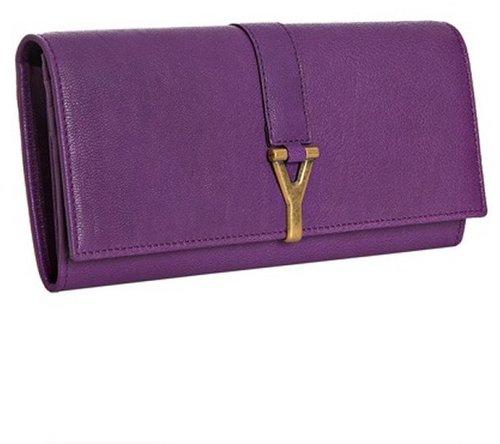 Yves Saint Laurent purple leather logo flap continental wallet