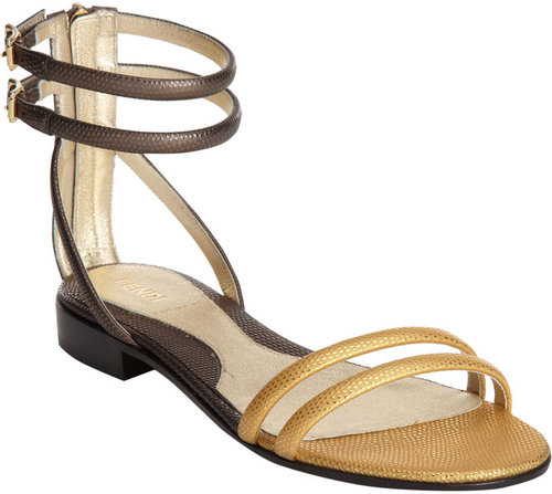 Fendi Stamped Two-Tone Flat Sandal