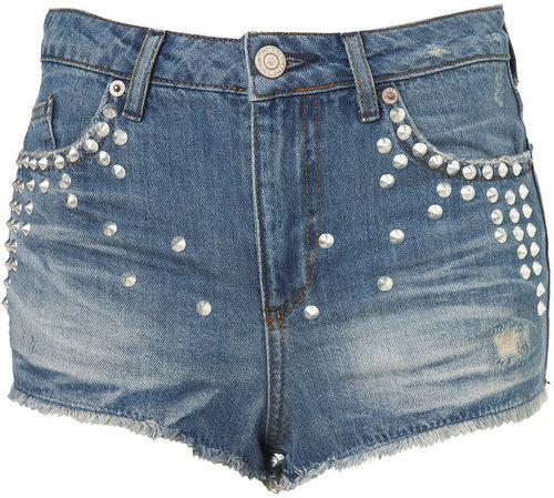 Petite Studded Denim Hotpants