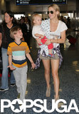 Kate Hudson traveled through the Miami airport with her sons, Ryder and Bingham.