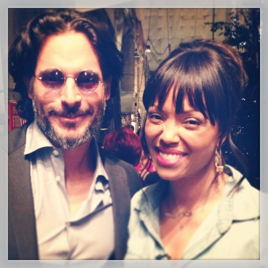 Aisha Tyler posed with Joe Manganiello on the set of The Talk. Source: Instagram user aishatyler