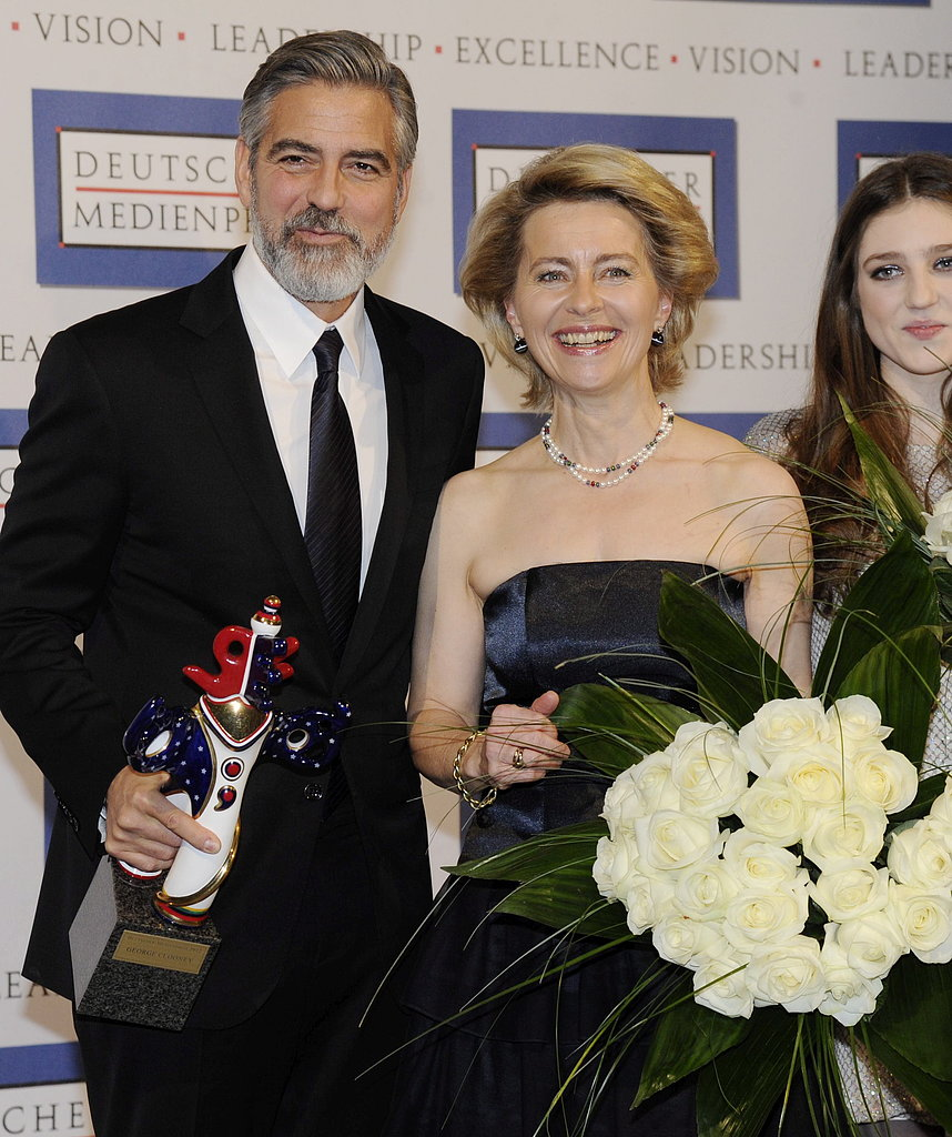 George Clooney received a German Media Prize (Deutscher Medienpreis) for his humanitarian efforts.