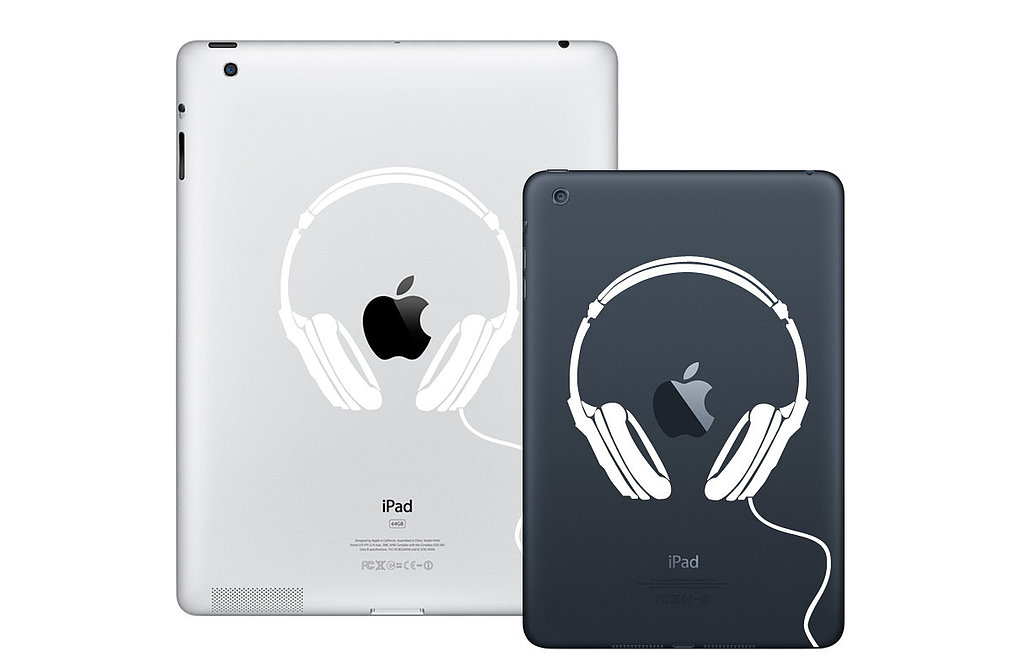 The headphone design of this iPad mini decal ($7) is perfect for those who can't press pause.