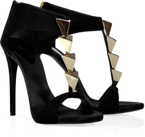 Giuseppe Zanotti Black Jewel-Embellished Sandals