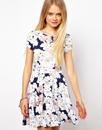 ASOS Skater Dress In Pansy Floral Print
