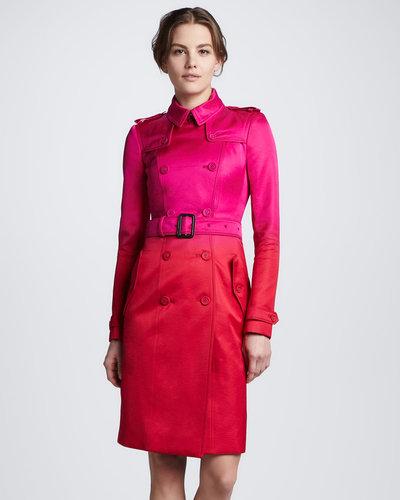 Burberry Prorsum Two-Tone Silk Trenchcoat