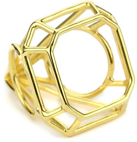 "Pure Dead Brilliant ""Kind Diamonds"" Gold Cocktail Faceted Ring"