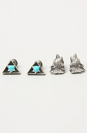 Obey The Lone Wolf Earring Set in Silver Oxide