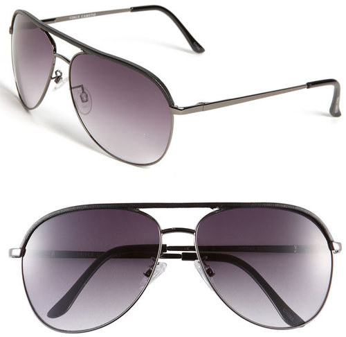 Vince Camuto Metal & Leather Aviator Sunglasses