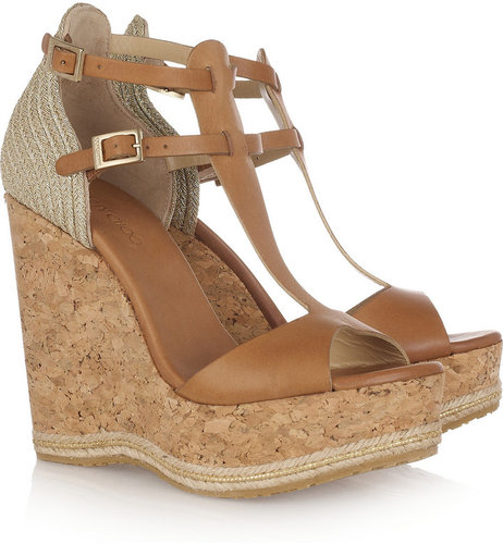 Jimmy Choo Preya leather and raffia wedge sandals