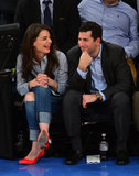 Katie Holmes laughed while the game was going on in NYC.