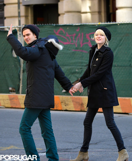 Andrew Garfield and Emma Stone walked in the West Village after having breakfast.