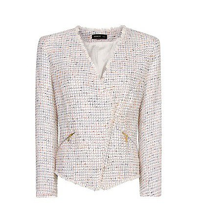 A sophisticated work option, courtesy of the Mango bouclé biker jacket ($100).