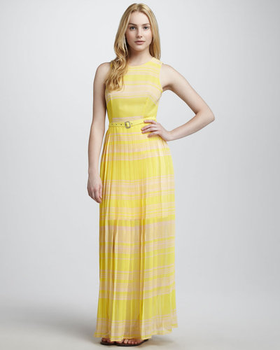 French Connection Belted Pleated Silk Maxi Dress