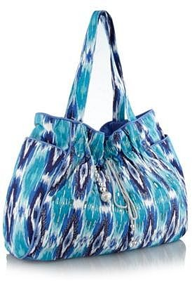 Blue tribal printed beach bag
