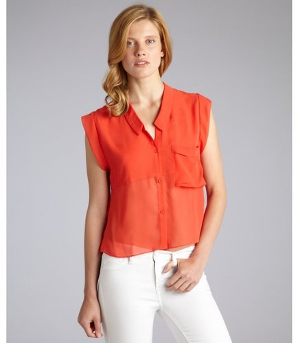 DV by Dolce Vita red chiffon 'Carlie' sleeveless button front blouse