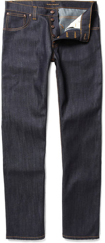 Nudie Jeans Average Joe Organic Straight-Leg Dry-Denim Jeans