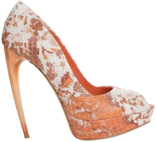 Froth Coral Python Horn Heel Peep-toe