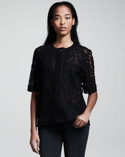 Victoria Beckham Denim Half-Sleeve Lace Shirt