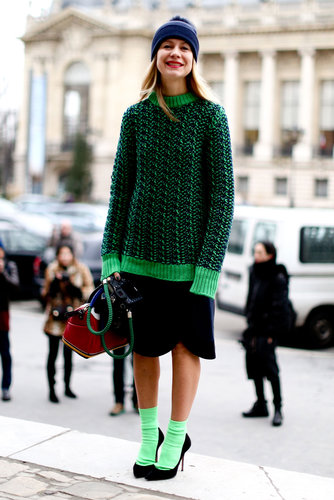 Natalie Joos made a statement in electric green.