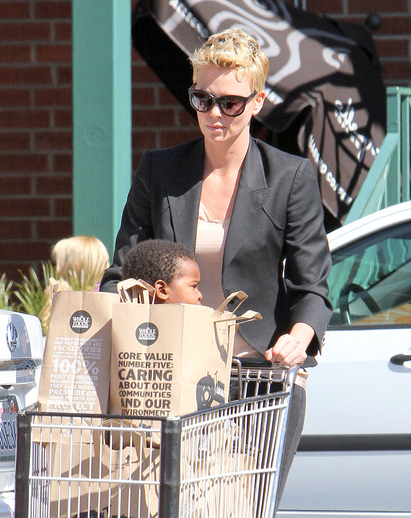 Charlize Theron and her son Jackson went grocery shopping at Whole Foods in LA.