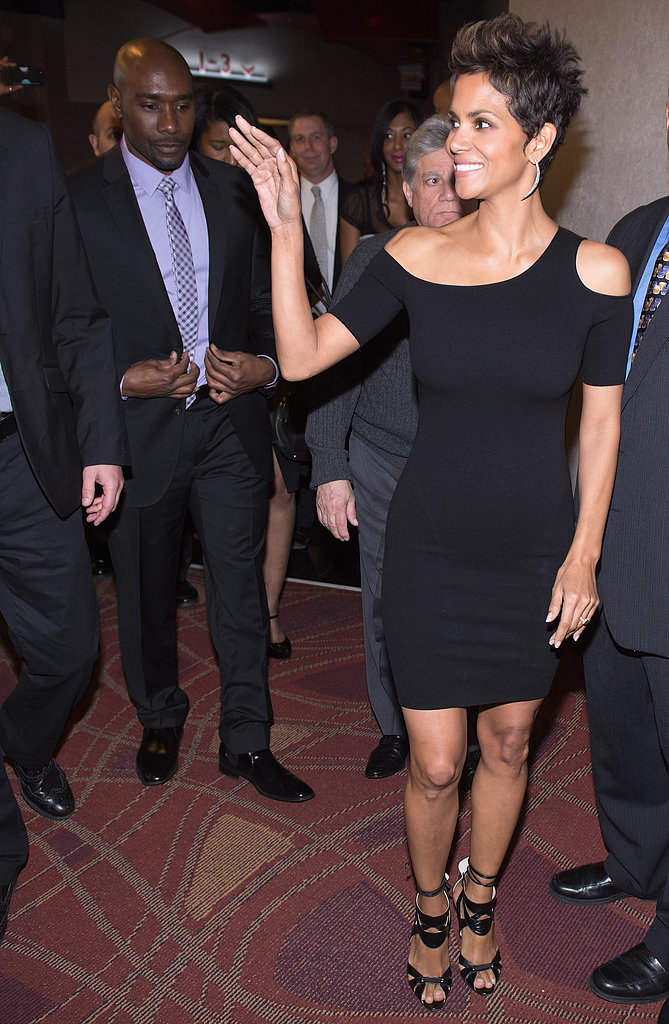 Halle Berry waved on her way into the premiere of The Call in Chicago on Thursday.