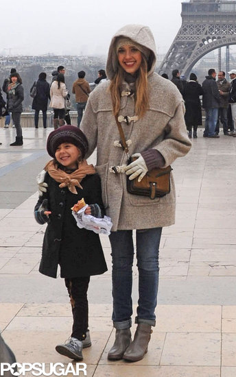Jessica Alba and daughter Honor posed for a picture at the Eiffel Tower in Paris.